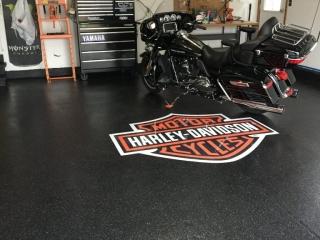 Epoxy Flake Flooring   Floor Logo   Leesburg Virginia   Tailored Concrete Coatings