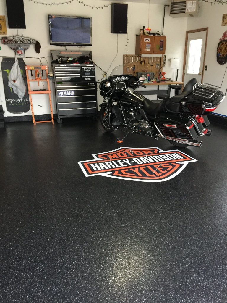 Epoxy Flake Flooring | Floor Logo | Leesburg Virginia | Tailored Concrete Coatings