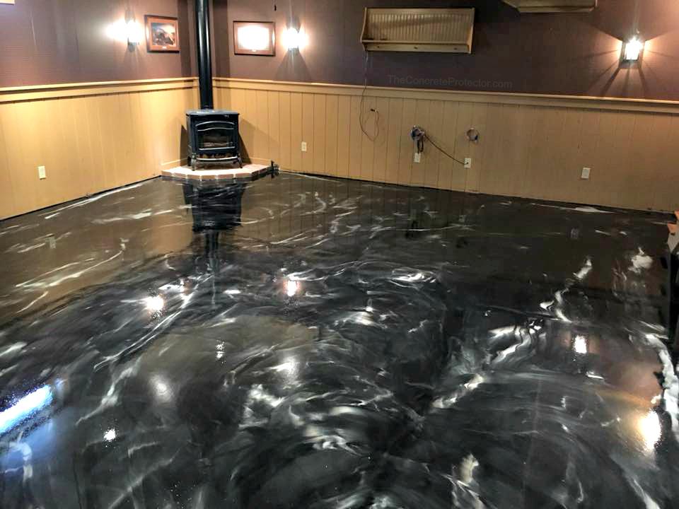 Metallic Marble Epoxy Flooring | Lessburg Virginia | Tailored Concrete Coatings