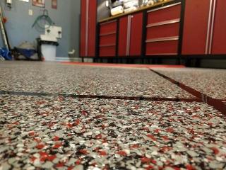 Epoxy Tile Flake Flooring   Garage   Winchester Virginia   Tailored Concrete Coatings