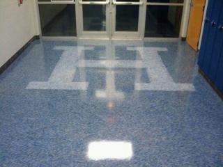 Epoxy Flake Flooring   Floor Logo   Monasses Virginia   Tailored Concrete Coatings
