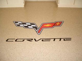 Epoxy Flake Flooring   Floor Logo   Winchester Virginia   Tailored Concrete Coatings