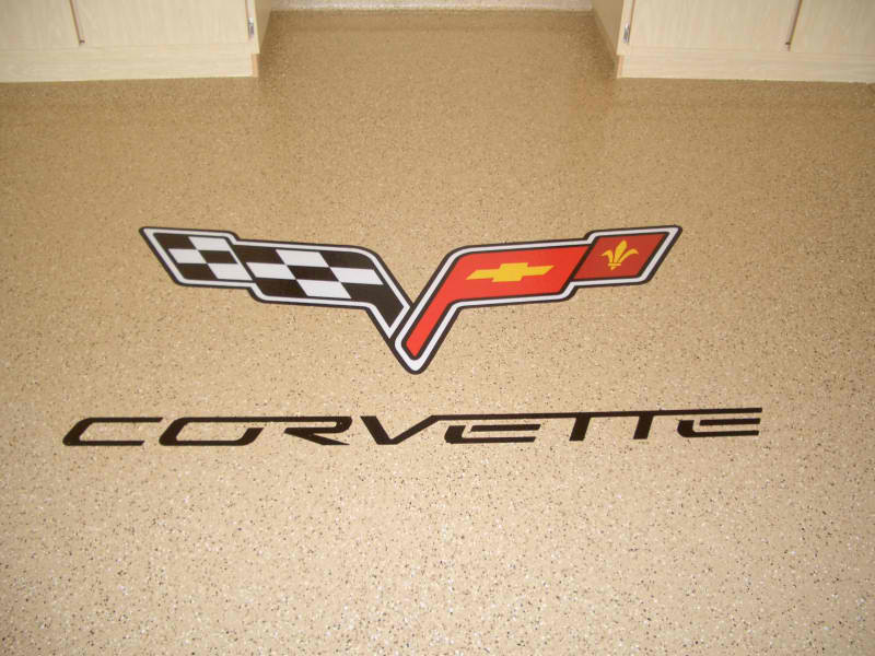 Epoxy Flake Flooring | Floor Logo | Winchester Virginia | Tailored Concrete Coatings
